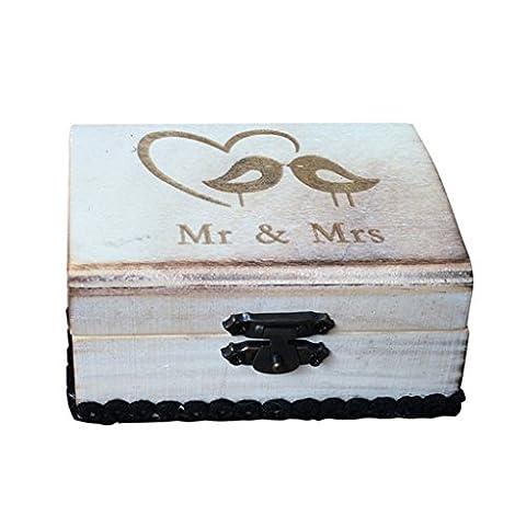 MagiDeal Boîte à Bijoux Porte Alliance de Mariage en Bois
