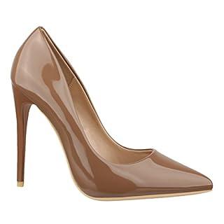 Elara Spitze Damen Pumps   Bequeme Lack Stilettos   Elegante High Heels B-1 Khaki-40