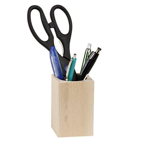 Pot à stylos et crayons carré en bois naturel clair Porte-crayons