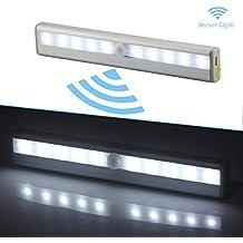 Luz del sensor de movimiento, luz recargable de la noche del USB LED, palillo-dondequiera Las luces del armario luces de la escalera, luces seguras para el pasillo, cuarto de baño, dormitorio, cocina, etc. (Blanco)