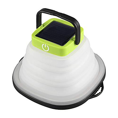 Decdeal Faltbar Camping Laterne, Solar/USB Betriebe LED Außenleuchte 3 Level Leuchtdichte Einstellbar IP67 Wasserdichtes Campingzelt Wandern Taschenlampe Laterne mit Saugnäpfen