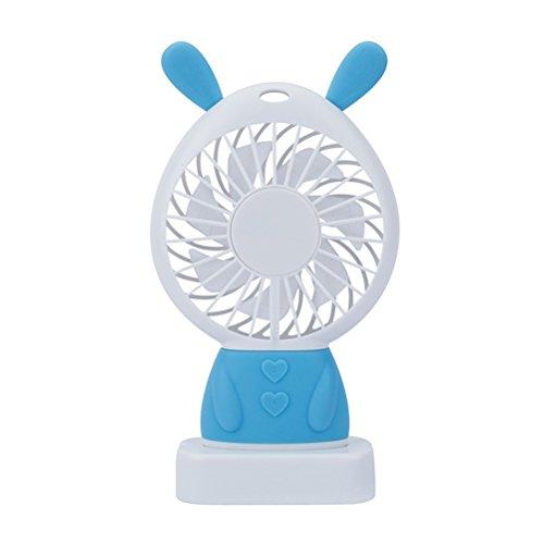 ThreeCat Mini-persönlicher Ventilator - Netter entzückender USB-aufladbarer Ventilator, kleiner beweglicher Ventilator mit Mehrfarben-LED-Licht, 2 justierbare Geschwindigkeiten, vervollkommnen für Innen- oder im Freienaktivitäten - Badezimmer-ventilator-lichtschalter
