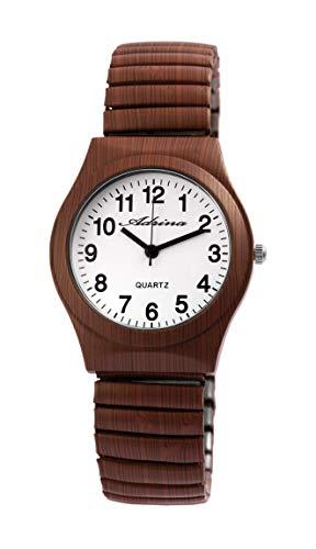 � Braun Holz-Optik Analog Quarz Metall Zugband Arabische Ziffern Armbanduhr ()