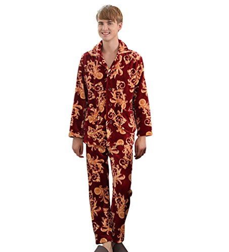 YiLianDa Pigiami Manica Lunga Autunno E Inverno Due Pezzi Set Abbigliamento Rosso(Uomo)
