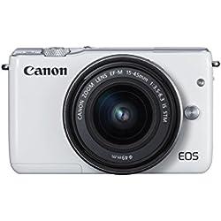 Canon EOS M10 Systemkamera (18 Megapixel, 7,5 cm (3 Zoll) Display, STM, WLAN, NFC, 1080p, Full HD) Kit mit EF-M 15-45mm IS weiß