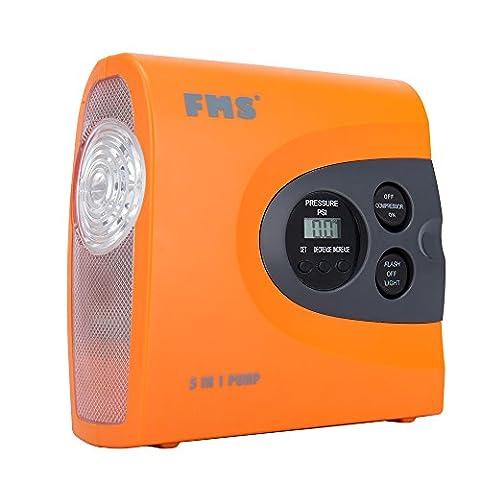 FMS Mini 12v compresseur d'air Digital portable avec Éclairage LED Digital gonfleur pneu, 150 PSI, 2.6 Lbs (Orange)