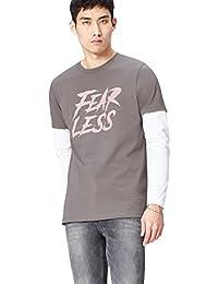 Marchio Amazon - find. T-shirt con Doppia Manica Uomo