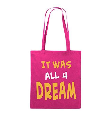 Comedy Bags - It was all four dream - KLEINE ZAHL - Jutebeutel - lange Henkel - 38x42cm - Farbe: Schwarz / Weiss-Neongrün Pink / Gelb-Weiss