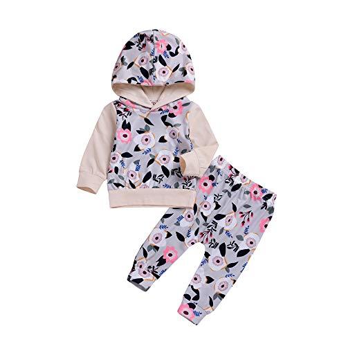 (Beikoard Baby Langarm Blumendruck-Pullover-Set Neugeborenes Baby Mädchen Kleidung Mantel Floral Hosen Leggings Outfits Set (6M-24M)
