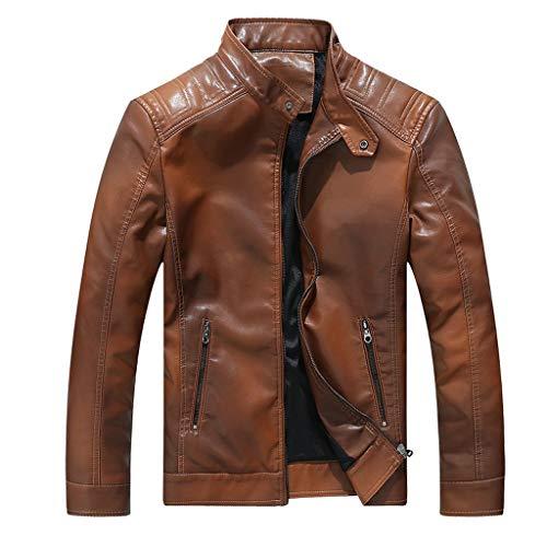 NnuoeN Dash Giacca in Pelle Giubotto di Pelle Giacche da Uomo con Collo Alto Pelle Cappotto Manica Lunga Coat Jacket Autunno e Inverno