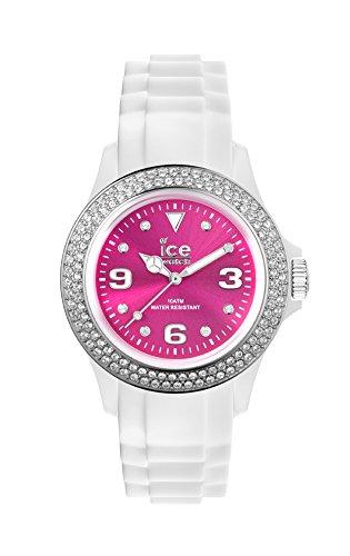 Ice-Watch - ICE star White Pink - Weiße Damenuhr mit Silikonarmband - 013748 (Medium)
