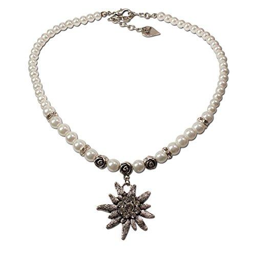 Trachtenschmuck Trachtenkette Perlen & Strass-Edelweiß (cremeweiß) * Damen Dirndlkette, Perlenkette Oktoberfest