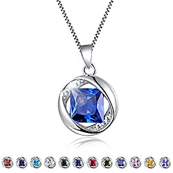 "Aurora Tears Jewellery September Birthstone Sapphire Pendant 925 Sterling Silver Necklace 18"" Dp0029s"