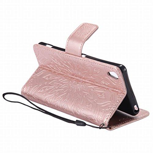 LEMORRY Sony Xperia XA Custodia Pelle Cuoio Flip Portafoglio Borsa Sottile Bumper Protettivo Magnetico Morbido Silicone TPU Cover Custodia per Sony Xperia XA, Fiorire Verde Oro rosa