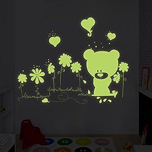 ufengke-Oso-Lindo-Hermosas-Flores-Pegatinas-de-Pared-Fluorescencia-Brillan-en-la-Oscuridad-Vivero-Habitacin-de-Los-Nios-Removible-Etiquetas-de-La-ParedMurales
