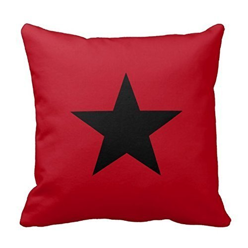 ZKHTO Black Star Pattern on Dark Red Throw Pillow Cover Decorative Cushion Case Zippered Twin Sides,Cover Size:20 x 20 Inch(50cm x (Dark Fairy Halloween Ideen)