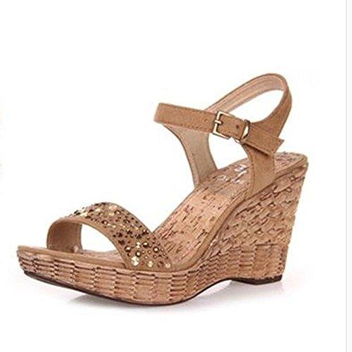Sommer Wedge Sandalen High - Heeled Schuhe Wasserdichte Tisch Sandalen a