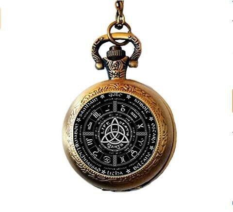 aschenuhr Halskette, Pagan Pentagramm Taschenuhr Halskette ()