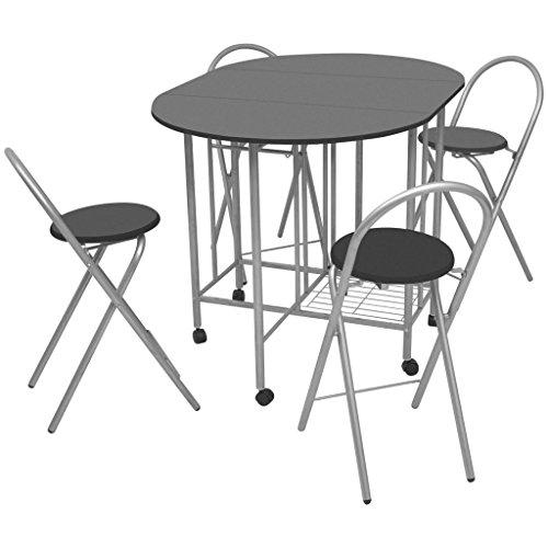 Esstisch Set, zusammenklappbar und Stühle platzsparend für Küche kleine Räume 5Stück (Kleine Räume Esstisch Für)
