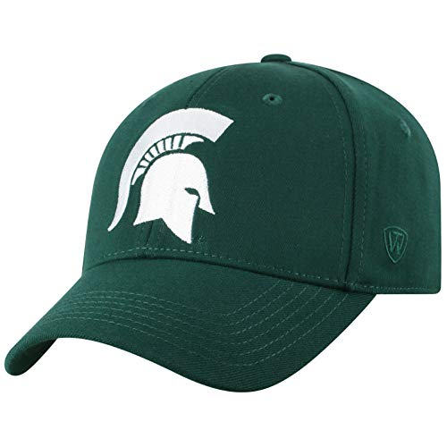 Top of the World NCAA Michigan State Spartans Men's Premium Memory Foam Logo Hat, Dark Green - World Baseball Fitted Hat Cap