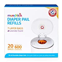 ‏‪Munchkin Arm & Hammer Diaper Pail Snap, Seal and Toss Refill Bags, Holds 600 Diapers, 20 Count‬‏
