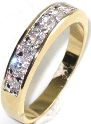 0.34CT Womens Channel Swarovski elements ring band. Outstanding quality gold electroplated Wenlq