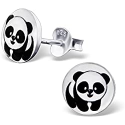 laimons Kids Niños de pendientes joyas Niños Panda Oso de tablero blanco negro, plata de ley 925