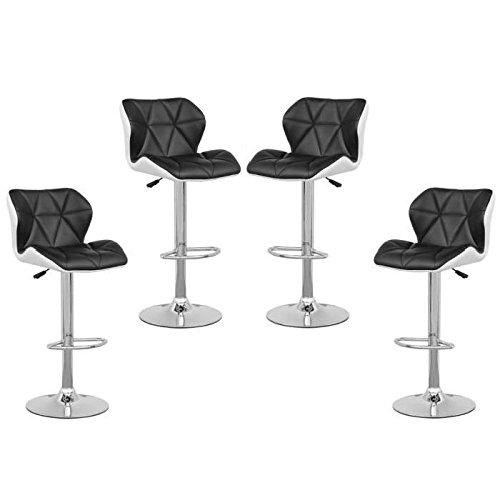 Vendeur Pro Lot de 4 Tabourets De Bar avec Dossier Hauteur Réglable 62cm - 82cm en Simili PU et PVC Noir/Blanc
