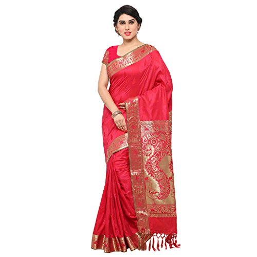 Varkala Silk Sarees Women\'s Art Silk Kanchiuram Saree With Blouse Piece(AWJP7108RNRD_Pink_Free Size)