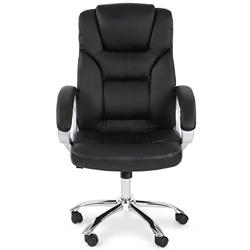Miadomodo Office Swivel Chair (Black) Height Adjustable PU Leather Office Furniture