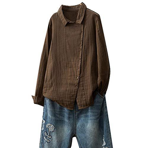 OverDose Damen Herbst Freizeit Stil Frauen Baumwolle Solid Langarm-Shirt beiläufige lose Bluse Beach Party Button-Down-Tops Pullover(Marine,EU-40/CN-S ) -