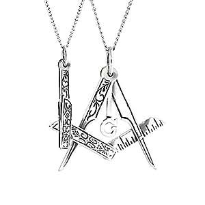 Mens Bling Jewelry pliable maçonnique Stelring pendentif collier argent 16 pouces