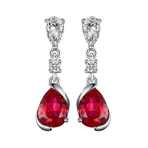 JewelryPalace Donna Gioielli Moda 1.9ct Pera Creato Rosso Rubino Orecchini con Pendente 925 Argento Sterling
