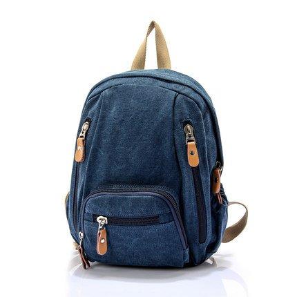 Mefly Die Neue Koreanische Canvas Tasche Rucksack Bag Student Tasche Damen Mode Navy Blue