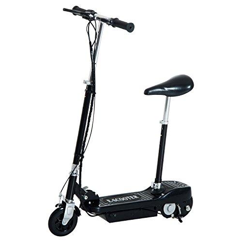 Homcom® Elektroroller Kinderroller Roller mit Sitz Tretroller klappbar 120W (Schwarz)