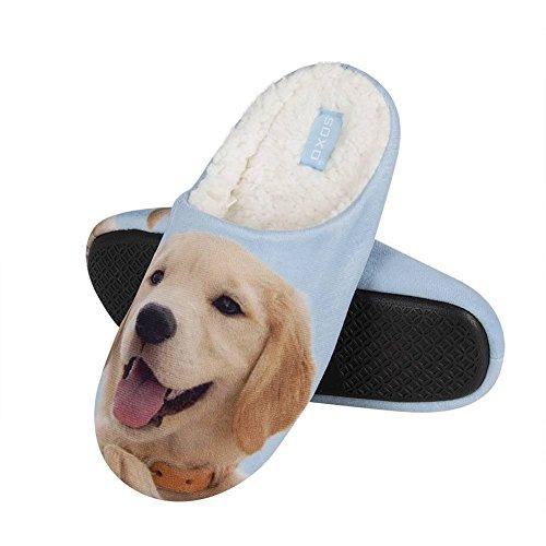 soxo Damen Hausschuhe mit einem Hundefoto | Leicht und Bequem mit Einer Steifen Sohle | Perfekte Idee für Hundefans Lustiges Geschenk (38-39 EU, Labrador)