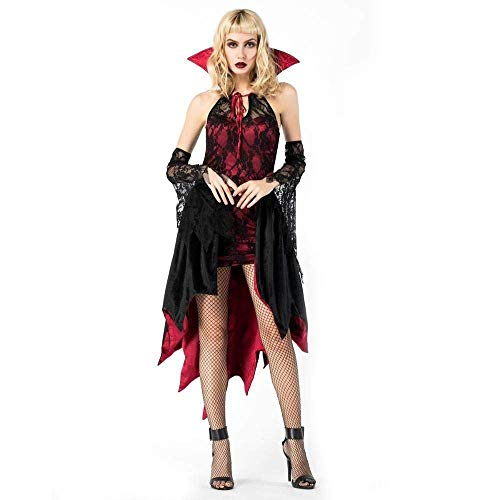 Fashion-Cos1 Königin Vampir Zombie Sexy Ghost Kostüm Frauen Frau Braut Cosplay Kostüm Spitze Skeleton Halloween Kostüme Für Frauen Hexe (Make-up Kostüm Frau Alte)
