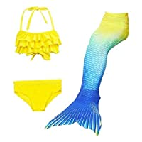 3 Pcs Mermaid Tail for Swimming Mermaid Bathing Suits Swimsuit Bikini Set Without Fin(Yellow, 120)