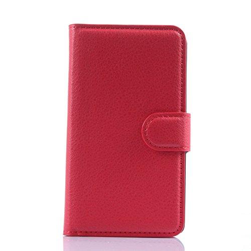 Nadakin LG L Fino D295 LG L Dual D290N L70+ Calidad Premium Cartera de Cuero con Carcasa de Teléfono Flip Funda con Soporte Magnetico de Cierre para LG L Fino D295 LG L Dual D290N L70+(rojo)