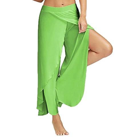 Hot vente. Pantalon Wide-leg, Feixiang & # X2648; pour femme décontracté Pantalon de yoga Large jambe Jupe-short stretch Pantalon Vêtements, Green
