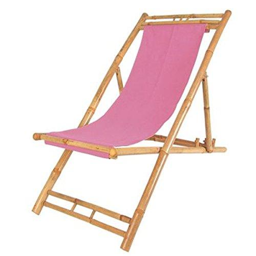 Bambus Relax Liegestuhl Pink Strandstuhl Terrassenliege Gartenstuhl 60x135cm -