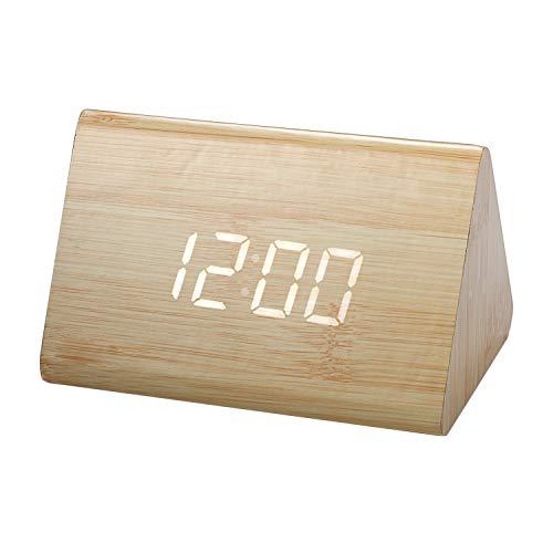 LANCARDO Digital LED Wecker, Schreibtisch Uhr Holz Digital Uhren mit 3 Alarme Temperatur, Sprachsteuerung, 2 Modi Display - Temperatur Mit Schreibtisch-uhr