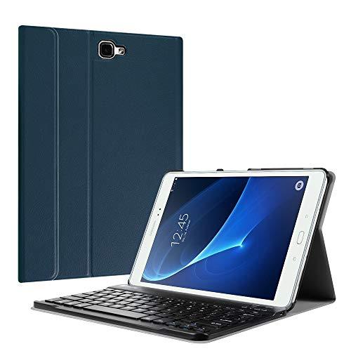 Fintie Bluetooth Tastatur Hülle für Samsung Galaxy Tab A 10,1 Zoll T580N / T585N Tablet - Ultradünn leicht Schutzhülle mit magnetisch Abnehmbarer drahtloser Deutscher Bluetooth Tastatur, Marineblau