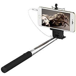 Selfie Stick Deluxe prs TECH - Bastone per selfie regolabile fino a 1 metro, per iPhone, Android, HTC, Samsung Galaxy S6, S6 Edge, S5, S5 mini, S4, S4 mini, iPhone 6, 6 Plus, 3, 3GS, 4, 4s, 5, 5S, Xperia Z3, OnePlus One