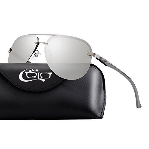 CGID Polarisierte UV400 Schutz Spiegelnde Prämie Al MG Tempel Rahmenlos Pilot Sonnenbrille Pilotenbrille Für Damen GA43