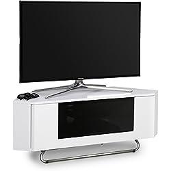 """Centurion soutient Hampshire Coin-Friendly Gloss Blanc avec noir Contraste Beam-Thru télécommande bienvenus porte 26 """"-50"""" TV à écran plat Cabinet"""