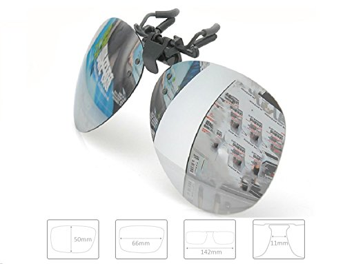 Enem Day Vision Polarized Silver Mirror Finish Clip-on Flip-up AVIATOR Driving Sunglasses