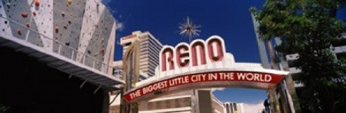 Panoramic Images - Low angle view of the Reno Arch at Virginia Street Reno Nevada USA Photo Print (91,44 x 30,48 cm)