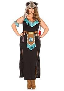 Leg Avenue- Guerrero Mujer, Color negro y turquesa, Talla Plus 1X/2X (EUR 46-50) (85385X08084)