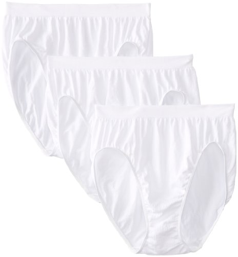 Bali Women's Comfort Revolution Seamless High-Cut Brief Panty (Panty Nylon-high-cut-white)
